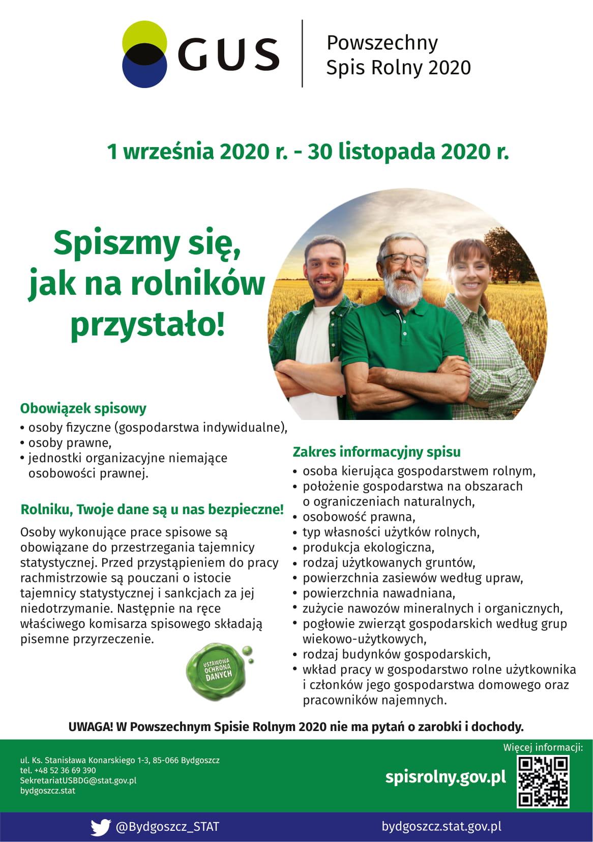 Ulotka informacyjna dotycząca Powszechnego Spisu Rolnego 2020